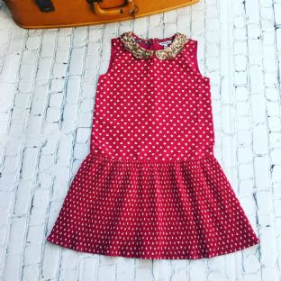 Johnnie B sleeveless red dress with white hearts age 9-10